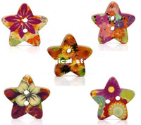 Quilt Accessories Buttons Yes 100 Mixed Star Shape Wood Sewing Buttons 18x17mm