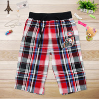 Wholesale D3735 European style casual Nova kids summer wear m y boys trousers motocycly embroidery cotton woven check pants plaid shorts