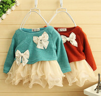 Wholesale Girl Bowknot Yarn Veil Long Sleeve Dress Child Garment Butterfly Knitted Layer Lace Chiffon Pleated Kid Clothing Outwear COLOR D0357