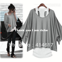 Women Cotton Polo Women's Loose Tops Batwing 2 PCS Blouse+Tank Casual Vest T-Shirt M L XL XXL Z