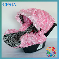 Wholesale Damask Pink infant car seat canopy cover fit most seat white black fluffy Pink set