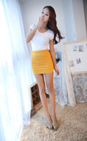 Wholesale Korea Women Slim Fit Bandage High or Low Waisted Stretch candy color Short Pleated Mini Skirt