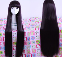 Wholesale classic design purple black mix color long straight cosplay hair wigs with neat bangs