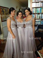 Wholesale 2013 Sexy Silver Bridesmaid Dresses V neck Cap Sleeves Sequins Beads Sheer Wedding Dresses Floor Length Chiffon Prom Dresses BO2673