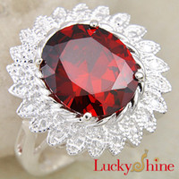 Wholesale Saint Valentine s Day Gift Flower Fashion Rings For Women Natural Red Zircon Rings R0368 R365