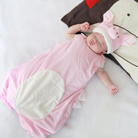 80cm,95cm newborn vests - baby sleeping bags newborn cotton Thick sleeping bag infant toddler animal model hat sleeping bag kids pig style sleep sacks sets