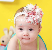 Wholesale 2013 Korean fashion floral lace layers of flower children ribbon chiffon lace headdress head flower hair accessories