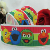 Wholesale 10yards quot sesame street MOVIE ELMO family cartoon printed grosgrain ribbon Kids DIY ribbon