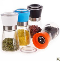 Glass with Ceramic pepper mill - 50x New Glass Manual Reusable Pepper Salt Spice Grinder Mill Hand Pepper Herb Mill Good quality