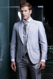 Wholesale Shiny Suits Sale - Shiny silver grey tuxedos Hot Sale One Button Tuxedos Wedding Groomsman Suit Bridal Groom Best Mens Suits (Jacket+Pants+Vest+Tie)