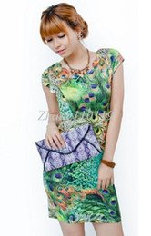 Wholesale Summer milk silk peacock print plus size XXXL one piece dress sexy vintage print cheongsam dress drop shipping