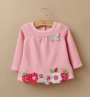 Girl Winter  2013 Cute Butterflies Strawberry Pattern Children Girls Solid Plain Nature Style Tees Shirts Child Autumn Warm Basic Tops B1743