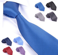 Wholesale 10 New Men men s casual Solid color yarn dyed stripe wedding Necktie Neck Ties Tie natural silk polyester silk