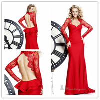 Sheath/Column Sexy Ruffle Amazing Gorgeous Sheath Sweetheart Long Lace Sleeve Peplum Red StainTarik Ediz Prom Evening Dresses Backless Pageant Formal Dress For Women