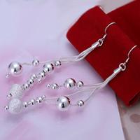 Women's brass wire - top sale silver plated Three wire multi bead earrings so beautiful sterling silver earrings DSSE women s silver earring