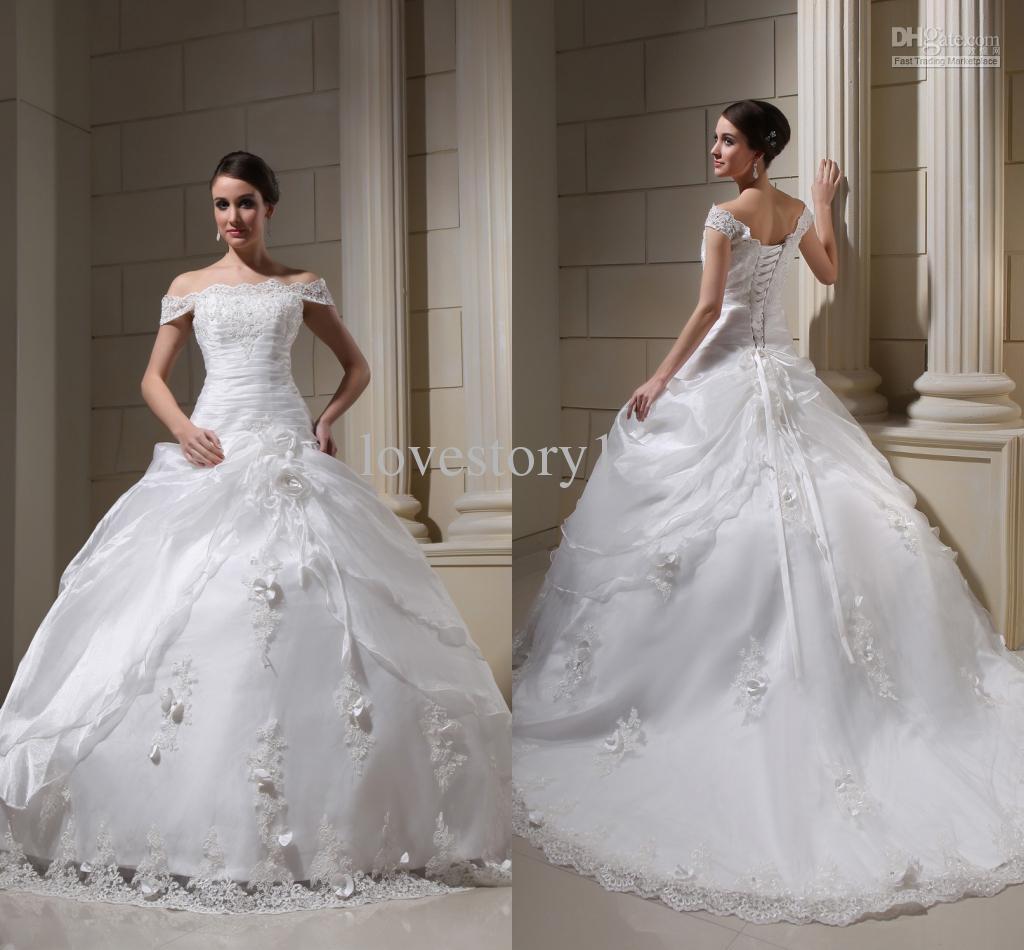 off the shoulder vintage wedding dresses