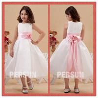 Wholesale DHL New Lovely White Flower Girl Dresses Jewel Ribbon Flowers Tea Length Dress Satin Wedding Party Girls Ball Gowns