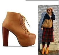 american campbell - jeffrey campbell thick with square head before European and American super high heels lace boots waterproof boots