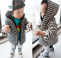 Wholesale EMS FREE Fashion Boys Girs Fleece Warm Stripe Knitted Clam Button Cardigan Jacket Kid Clothing Hooded Tops Children Garment D0366