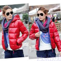 Wholesale Hot Colors Women s Outwear Winter Warm Hoodie Zip Up Down Jacket Coat New