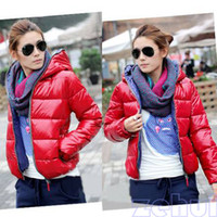 Wholesale Hot Colors Women s Outwear Winter Warm Hoodie Zip Up Down Jacket Coat New