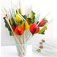 Wholesale 50PCS D Fruit Cocktail Drinking Juice Straws Hawaiian Novelty Party Decoration