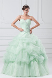 Wholesale 2014 New Sage Ball Gown Beaded Sweetheart Sleeveless Floor Length Light Green Organza Formal Party Evening Gown Prom Quinceanera Dresses