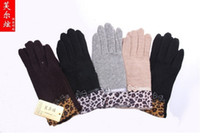 Wholesale Wool Gloves Ms new autumn and winter gloves Full finger Leopard gloves