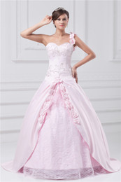 Wholesale 2014 New Ball Gown Quinceanera Dresses One Shoulder Sweetheart Sleeveless Flowers Embroidery Pink Long Formal Evening Gown Prom Dresses