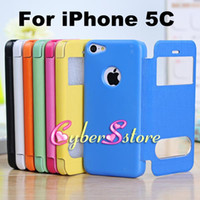 Leather plastic screen - For iphone C VIEW Window Table talk Wallet Flip PU leather Case Cover With Crystal plastic Screen protector For iPhone5C