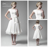 Hot Best White Chiffon Organza Short Sleeve Tea Length Weddi...