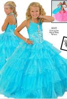 2013 Halter Blue Organza Girl's Pageant Gowns Junior Bridema...