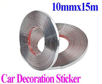 Wholesale 10mmx15m Car Auto Decoration Sticker Car Chrome Styling Moulding Trim Strip Auto Body Window Exterior Decoration stickers