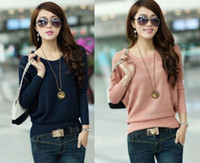 Wholesale Hot Women Knitted Batwing Hollow Casual Jumper Loose Pullover Sweater Tops New