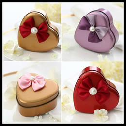New Candy Boxes with Ribbon Iron Heart Design Beach Candy Favors Wedding Party gifts Candy Package Wedding Favors holders Chinese Wholesale