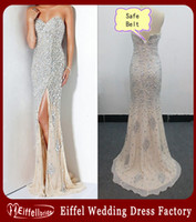 beaded silk gown - 2016 Real Formal Dresses Evening Sweetheart Mermaid Elegant Evening Gowns Silver Major Beading Slit Champagne Chiffon Cheap Prom Dresses