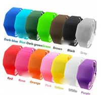 Wholesale 200PCS drop shipping plastic band fashion ultra thin touch led watch electronic digital movement colors for choice