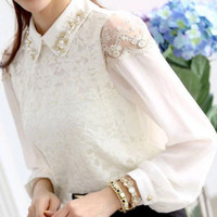 Casual Women lace New lace shirts sexy embroidery shirts Fashion women bottoming shirts and tops chiffon lace bead casual shirts elegant ladies tshirts QY6