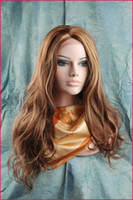"Cheap Natural Straight #4 27 highlight (as the picture show) 16''-26"" synthetic lace front wigs heat friendly party wigs In stock"