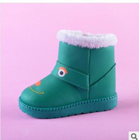 Winter Snow Boots Mid-Calf The new candy color cartoon tube boots in children with thick cotton shoes fluffy cotton boots