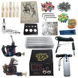 Wholesale Tattoo Kit Pro Machine Guns Power Supply Needles Grips Tips Beginner Kits PK2