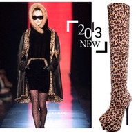 Knee Boots animal print platform - New arrival fashion super sweety princess female noble girl leopard platform round head suede slim Knight knee boots EU34