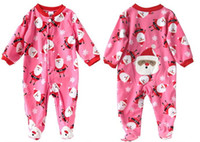 Wholesale Retail pc new Baby christmas long sleeve romper winter Carter pink polar fleece jumpsuits infant footies children s clothing kids wear