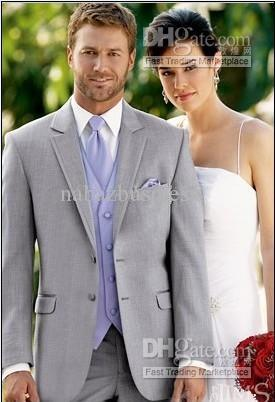 Light Grey Suit Lavender Vest And Tie Groom Tuxedos Notch Lapel ...