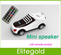 Wholesale New shoes Style Speaker For Micro SD TF USB MP3 Player LED Screen Display Sound box With Remote Control