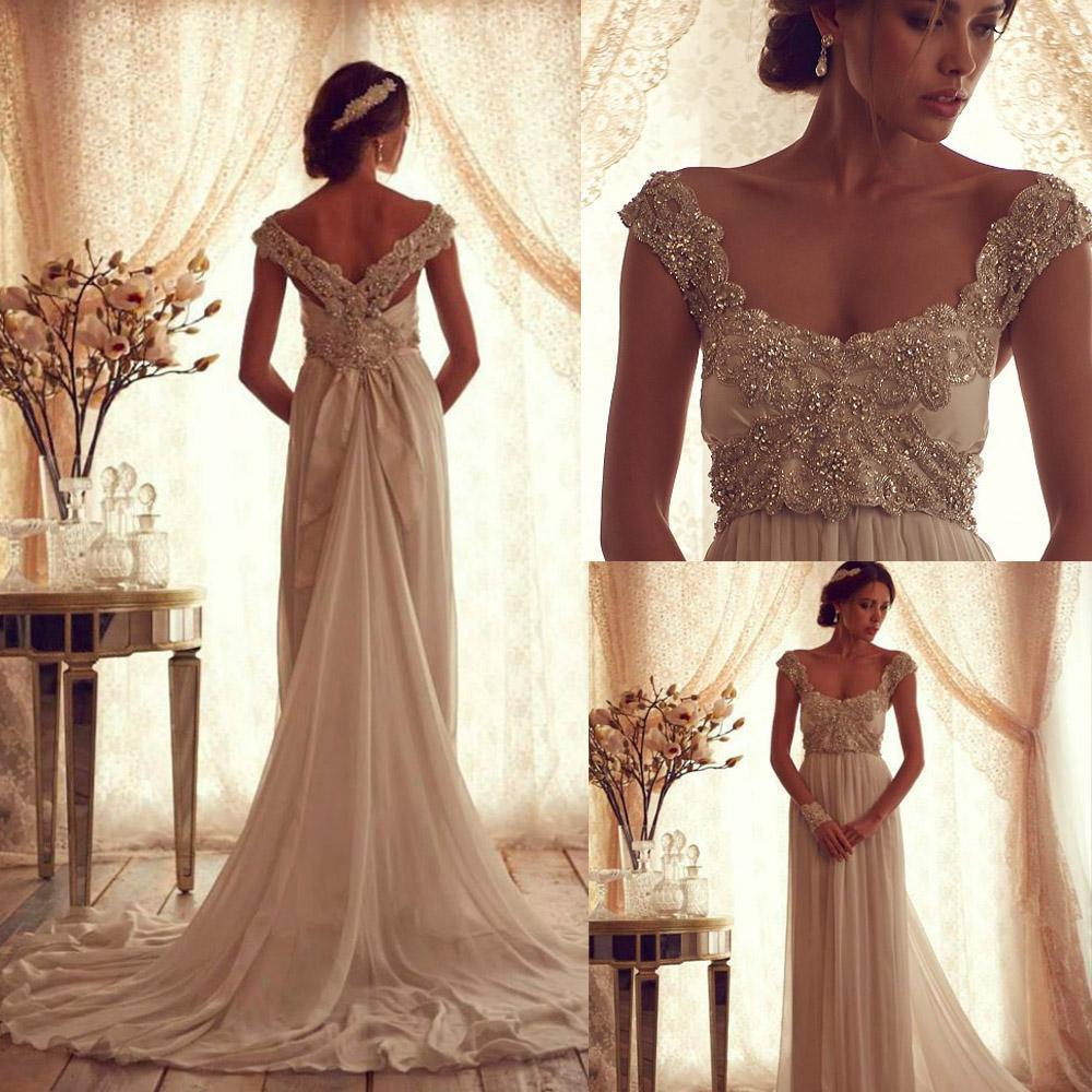 Discount Winter Luxury Anna Campbell Gossamer Wedding Dress With Glove Scoop Off Shoulder Beaded