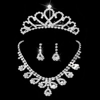 tiara and jewelry set - Bridal jewelry sets rhinestones wedding jewelry Womens rhinestone necklace earrings and tiara Set set retaile
