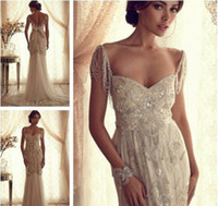 Wholesale Luxury Mermaid Wedding Dress Shop Famous Designer Sweetheart Spaghetti Straps Long Beading Bridal Gown dhyz