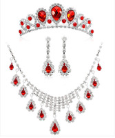 Wholesale Bridal jewelry sets rhinestones necklace earrings and tiara Set wedding jewelry set red and silver color acceptable set retaile