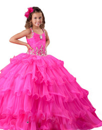 Wholesale Hot Pink Lovely Spaghetti Sleeveless Ball Gowns Princess Floor Length Beaded Organza Kids Little Ball Gowns For Girls Pageant Dresses